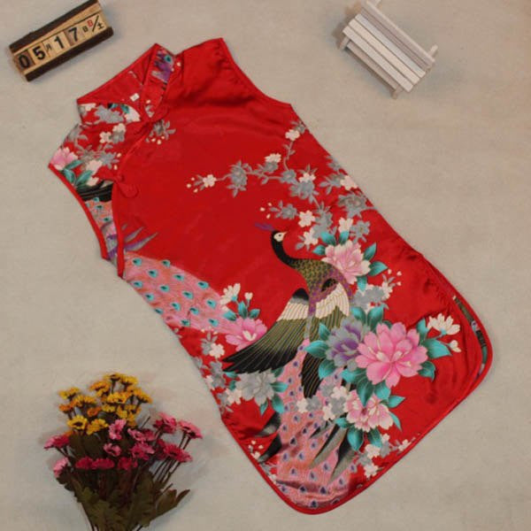 Kid Sleeveless Slim Traditional Dress