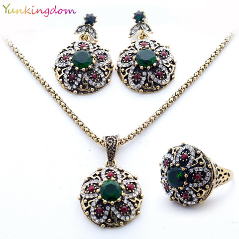 Unique Jewelry Sets India Women's Necklace Vintage Flowers Earrings Resin Stones Rings