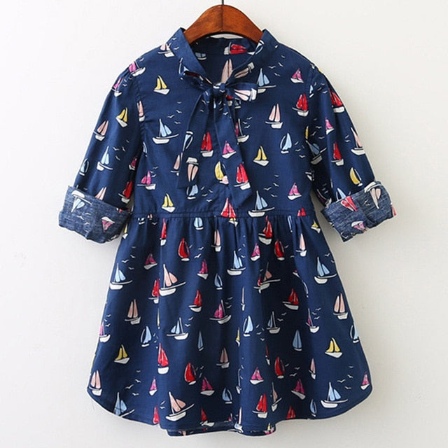 Sailboat Kids Clothing Dress With sashes For 3-7 Years