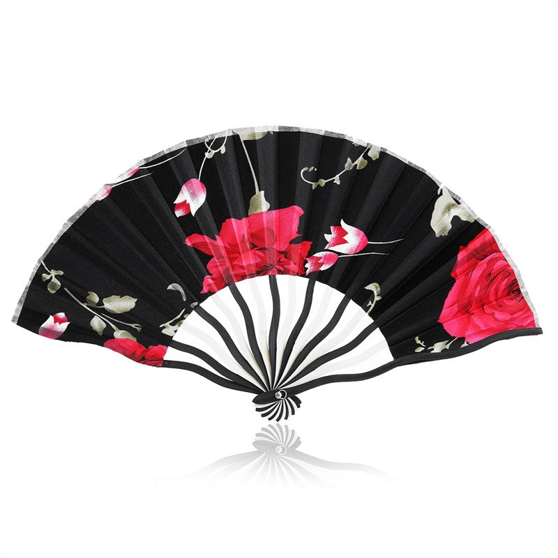 Chinese Rose Flower Folding Hand Fan with Curve Fan Ribs (Random Style)