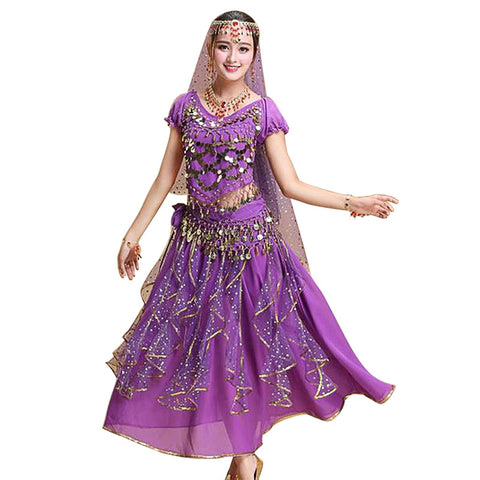 5Pcs/Set Women Short Sleeve Stage Dress India Belly Dance Costumes Performance Clothing (Purple)