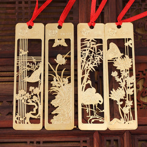 9.2*2.3cm Classical Chinese Style Metal Bookmark Merlin Bamboo Chrysanthemum Plum Orchid Vintage Book Marks Gifts