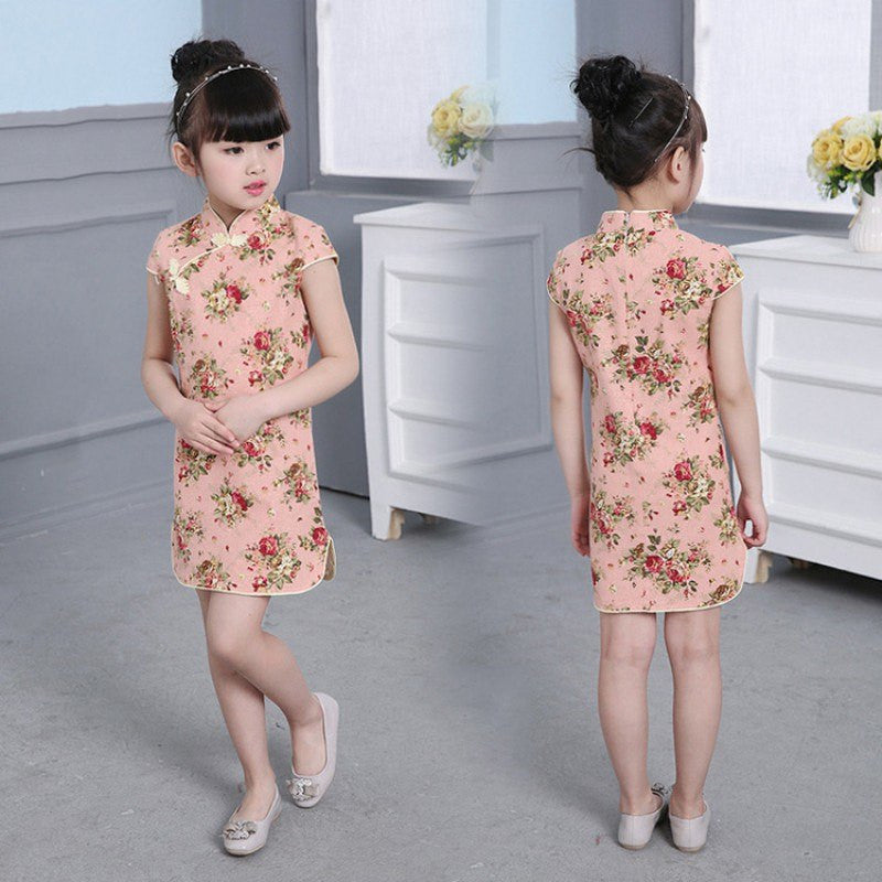 Chinese Girl Dress Children Dress Qipao Chi-Pao Cheongsam Gift Clothes Children Clothing Girl Floral  New Year Newest