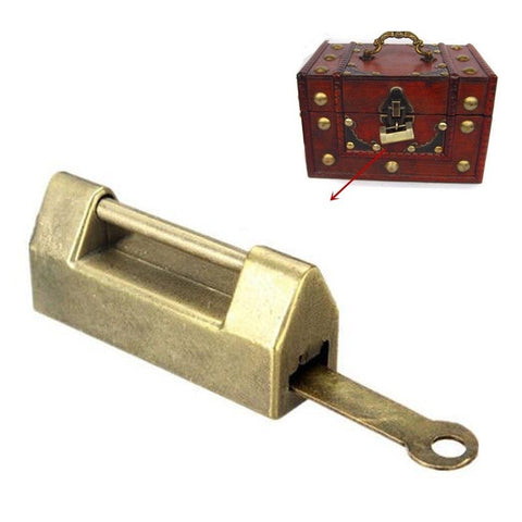 Traditional Retro Brass Padlock Lock + Key