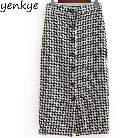 Plaid Skirt Female High Waist  Pencil Long Skirt
