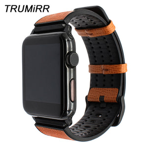 Italy Calf Leather & TPU Rubber Watchband for iWatch Apple Watch 42mm Series 1 2 3 Steel Clasp Band Sports Strap Wrist Bracelet