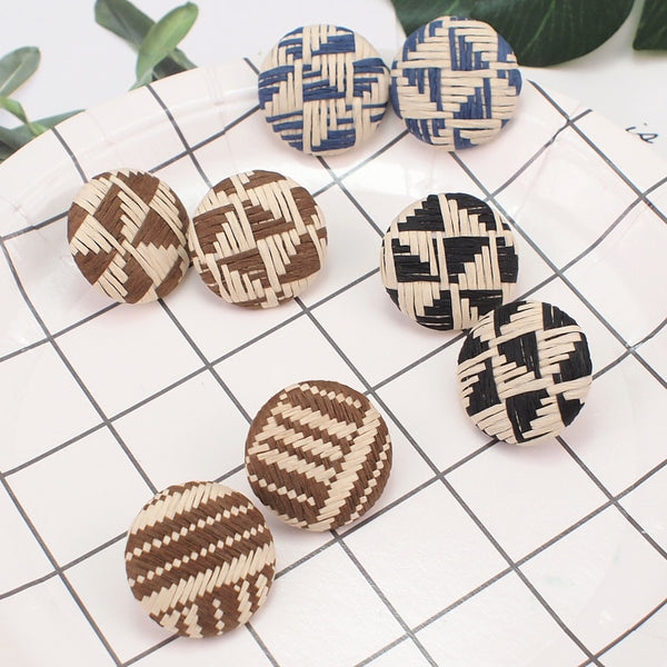 Korea Straw Rattan Knit Button Stud Earrings