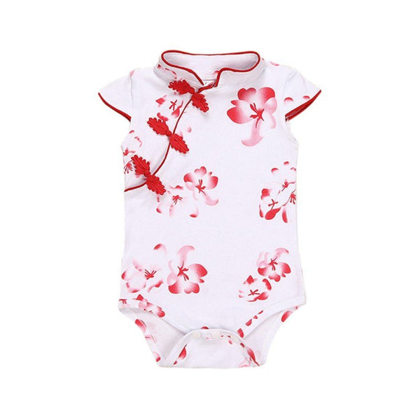 Newborn Baby Girl Baby Siamese Hijab Fashion Chinese Cheongsam Flower Bodysuits Jumpsuits Newborn Baby Girl's Clothes