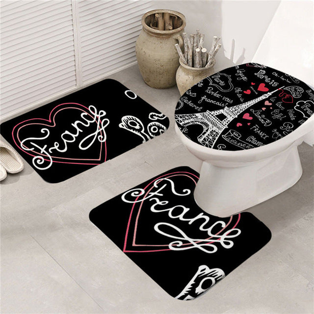 France Paris Tower Bathroom Mat Non-slip Letters Print 3-Piece Mat Set Black and White Toilet Cover Carpet