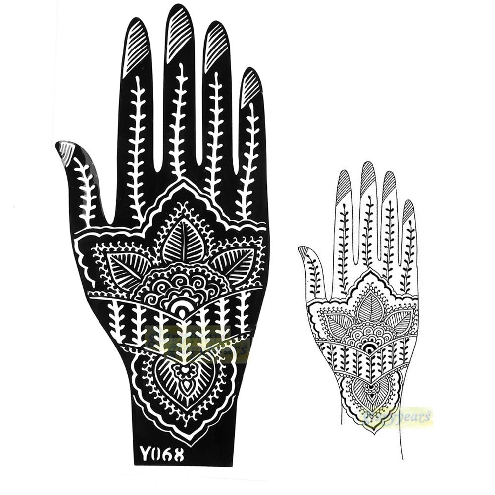 Large India Mehndi Henna Art Glitter Temporary Tattoo Airbrush Stencil Women Hand Henna Art Body Art Paint  Stencil