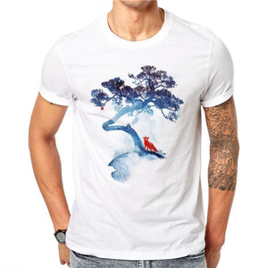 100% Cotton Chinese Myths Fox Tree Design White T Shirts Summer Print Men Short Sleeve O-Neck Casual Tops T-shirt Plus Size