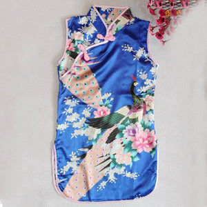 Chinese Kid Child Girl Baby Peacock Cheongsam Dress Qipao 2-7 T  Clothes Weeding Dress Kid For Girls Elegant Style