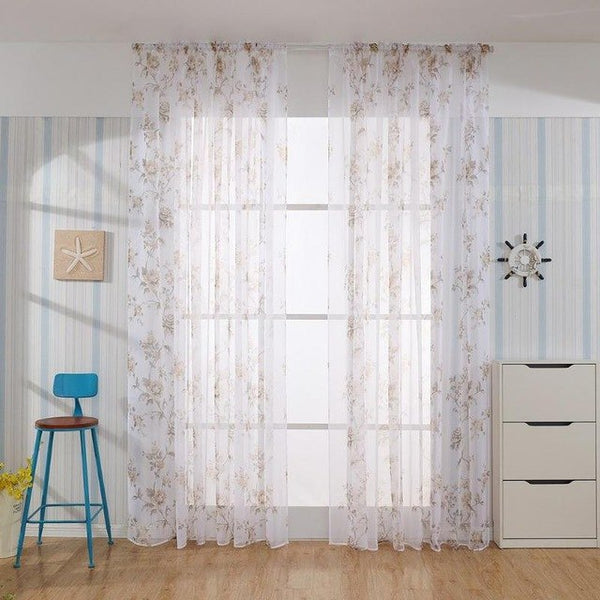 Flowers Printed Romantic Tulle Curtain