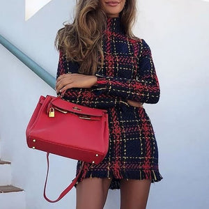 Plaid Long Sleeve Turtleneck Dress