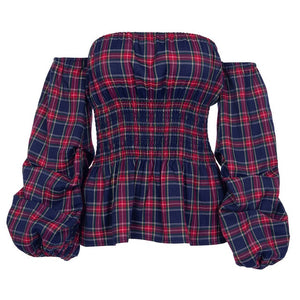 England Plaid Pleated Lantern Sleeves Waist Elastic Shirt