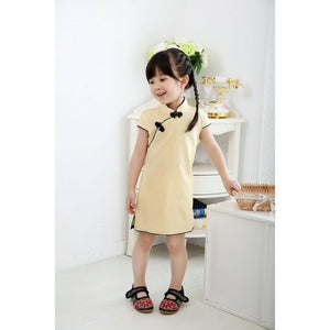 New Year Chinese Girls Dress Solid Pink Baby Girl Clothes QIPAO Cheongsam Cotton Traditional Dresses  Newest