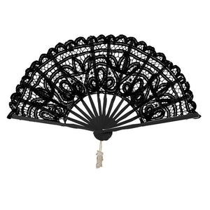 Chinese Spanish Lace Fabric Folding Hand Held Dance Fan Party Wedding Prom