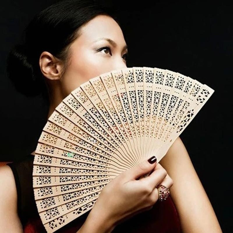 Sandalwood Scented Folding Hollow Wooden Fans Hand Held Fans