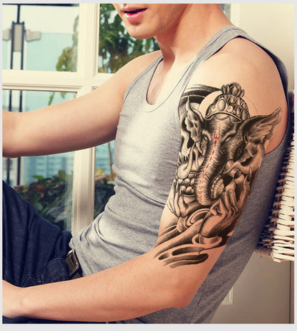 Tattoo On His Arm Male Body Art Beauty Makeup Holy India Elephant God Waterproof Temporary Tattoo
