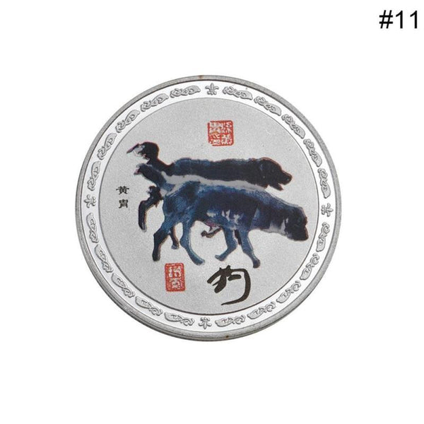 Silver Coin Colored Chinese Painting Style Chinese Zodiac Series Collection Commemorative Coins Chinese Master Painting Home Ornament Souvenir