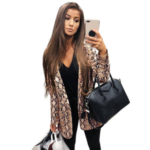 Snake Print Blazer Women Long Sleeve Coat