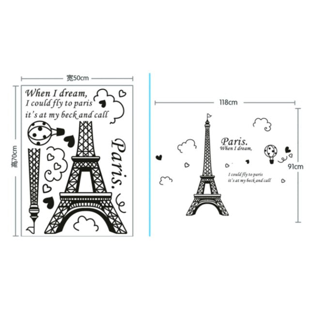 Paris Tower Beautiful View of France DIY Wall Stickers WallpaperArt Decor Mural Room Decal