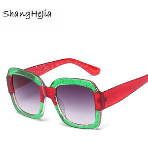 Brand Designer Sunglasses Italy Luxury Brand Designer Women Mirror Sun glasses Vintage 2018 Green Red Sun Glasses Female Goggle