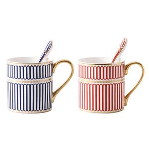 Couples Bone China Coffee Milk Tea Cup British Hand-painted Gold
