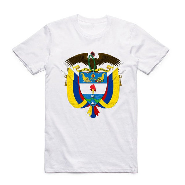 Colombian White T-shirt O-Neck Short Sleeves