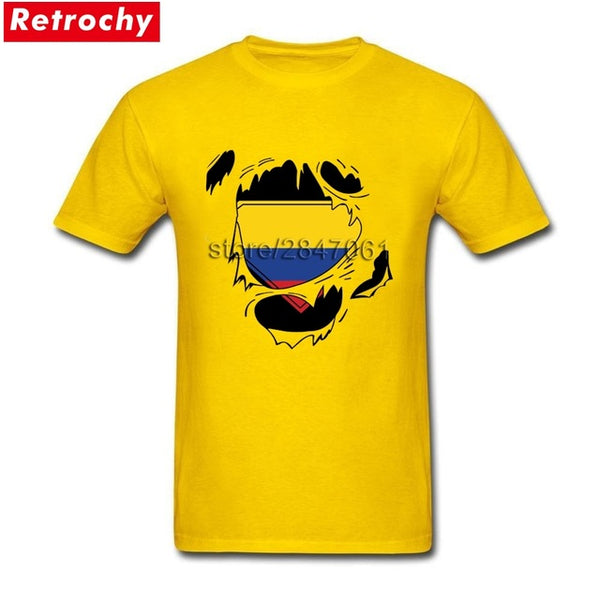 Colombia Flag Short Sleeved Pure Cotton Crew Neck T Shirt For Teenage