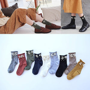 Korea Pearl Cotton Socks Wild Vertical Stripes Pile Of Socks