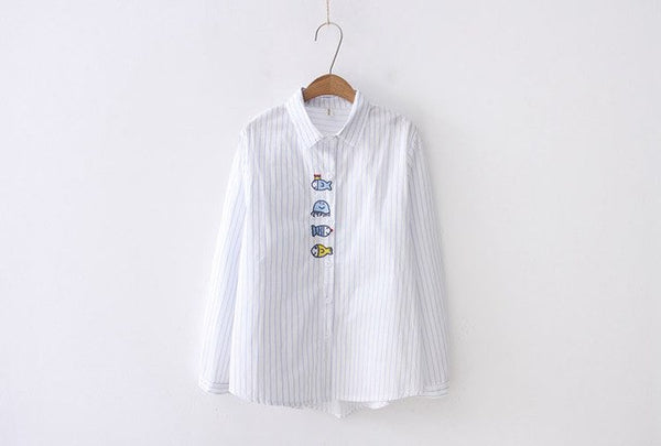 Whale Embroidery Shirt Women's