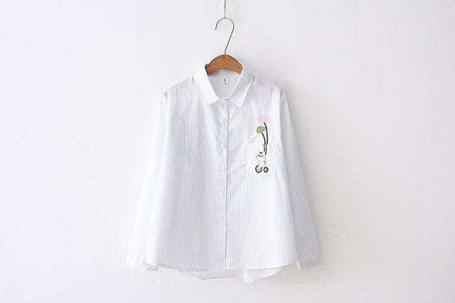 Cat Embroidery Pocket Shirt