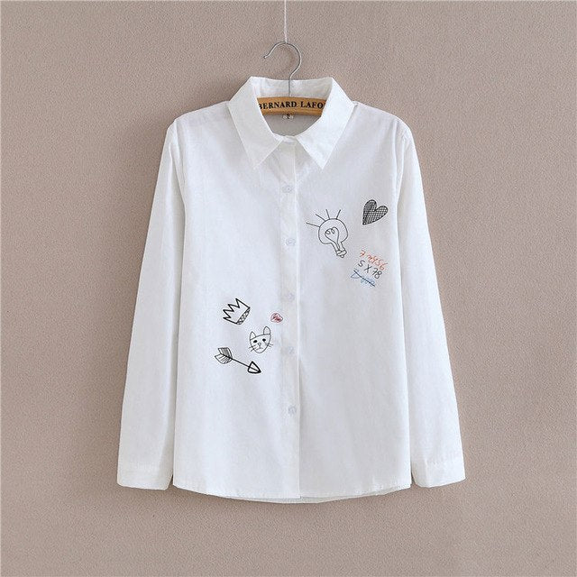 White Hand Paint Long Sleeve Shirt