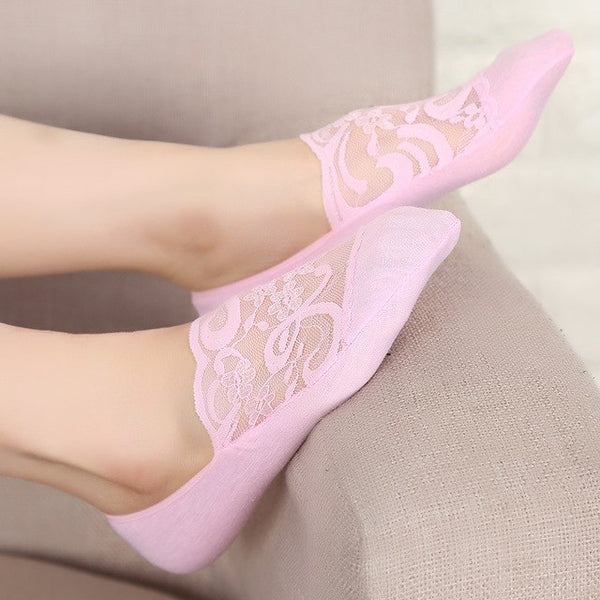 Women Lace Boat Socks Seamless Invisible Sock