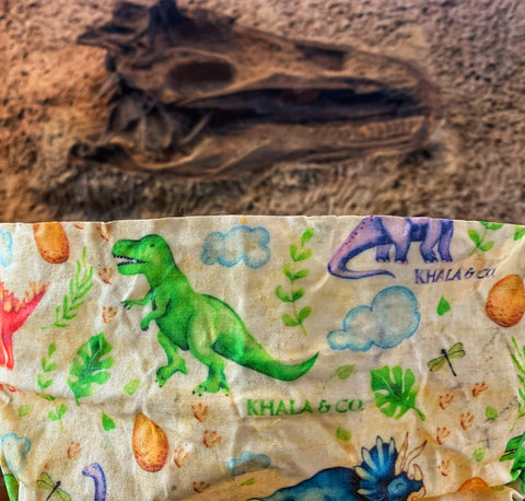 Sustainable Khala & CO beeswax wrap in the foreground in the print DinoClimate, which features cartoon and brightly colored dinosaurs, leaves and insects. In the background is a browned fossil dinosaur skull still in rock.