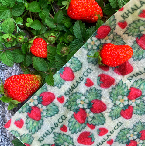Ripe and vibrant strawberries in a bag folded from Khala & CO's sustainable beeswax wrap in the print Heartberries, which features delicate strawberry plants and the Khala & CO logo.