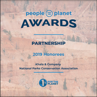 Plaque from the People for the Planet Awards showing Khala & CO as one of their 2019 Honorees, presented by 1% for the Planet. Award given for Khala & CO's partnership with the National Parks Conservation Association to raise funds.