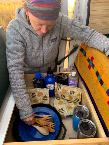 Van life, camper using eco-friendly zero-waste products from companies like Khala & Co