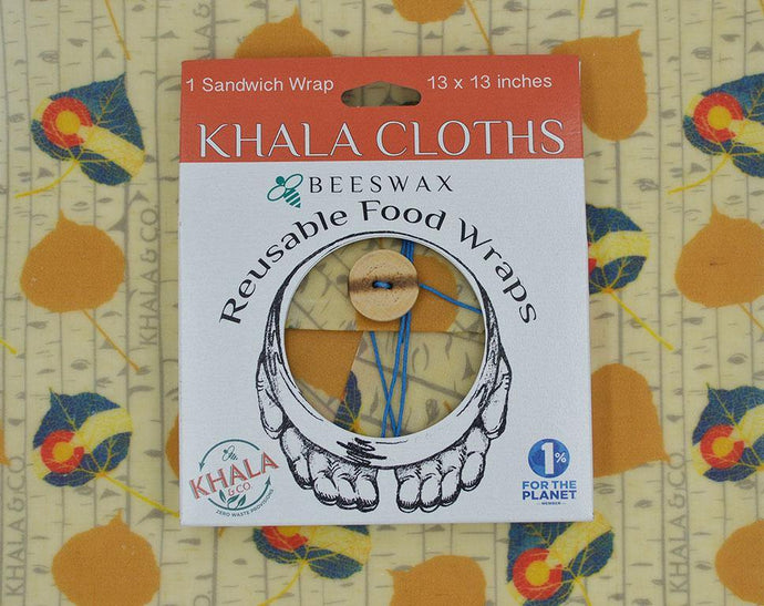 Re-usable Beeswax Sandwich wrap Khala Cloth in packaging, with the print Khalarado