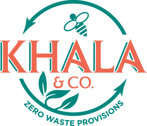 Khala & CO Zero Waste Provisions Logo, in green and red. Design features a bee for our Beeswax wraps and plant leaves for our Vegan wax wraps.