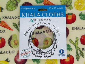 Beeswax 2 Large pack of Khala Cloths in packaging, in the print Harvest