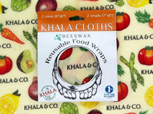 Load image into Gallery viewer, Beeswax 2 Mini 2 Small pack of Khala Cloths in packaging, in the print Harvest