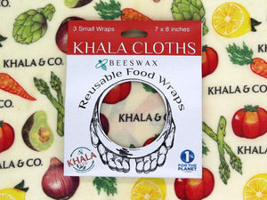Beeswax 3 Small pack of Khala Cloths in packaging, in the print Harvest