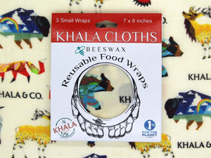 Beeswax 3 Small pack of Khala Cloths in packaging, in the print Windows Into the Still-Wild