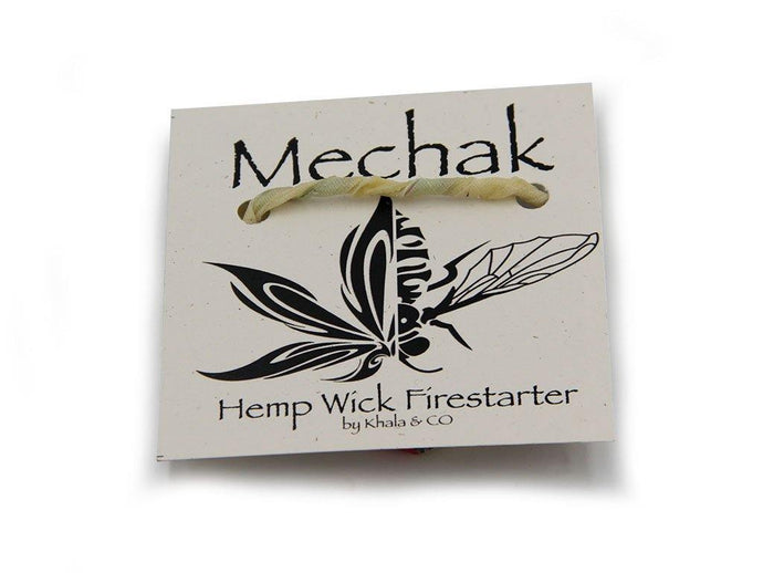 Sustainable Mechak rope with Recyclable Mechak Firestarter label, with a half cannabis leaf half bee logo in a tribal tattoo style.