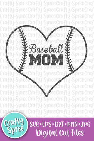 Baseball Mom Heart SVG DXF Sublimation Digital File