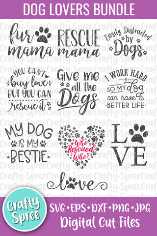 Dog Lovers Bundle SVG DXF PNG Sublimation Digital File