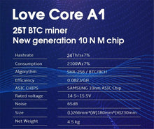 Load image into Gallery viewer, BTC BCH Miner Love Core A1 Miner Aixin A1 25T With PSU