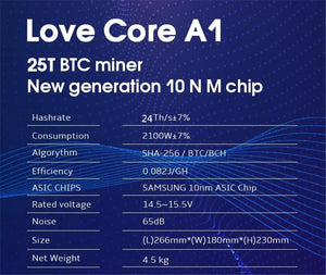 BTC BCH Miner Love Core A1 Miner Aixin A1 25T With PSU